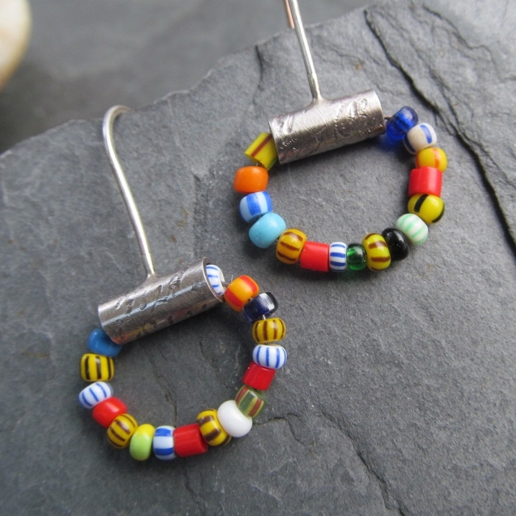 Fun African trade bead hoops su - artdi | ello