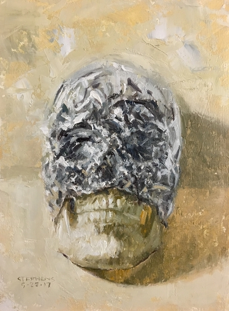 Skull wrapped foil 6x8 - craigstephensart | ello