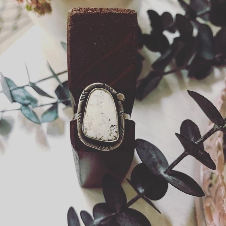 White Buffalo Turquoise stateme - mysticvalleyjewelry   ello