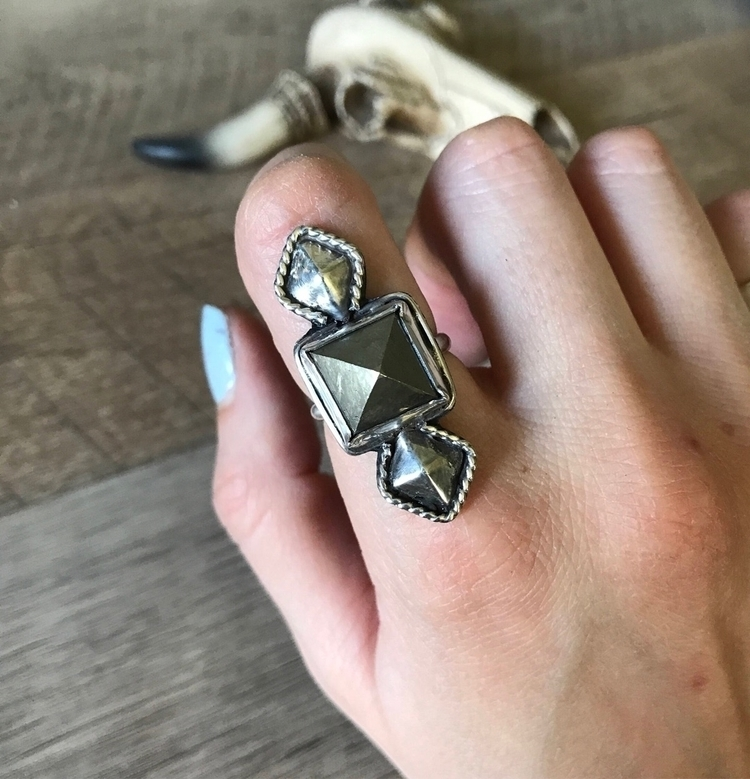 added band Pyrite stone ring Si - ivieandsage | ello