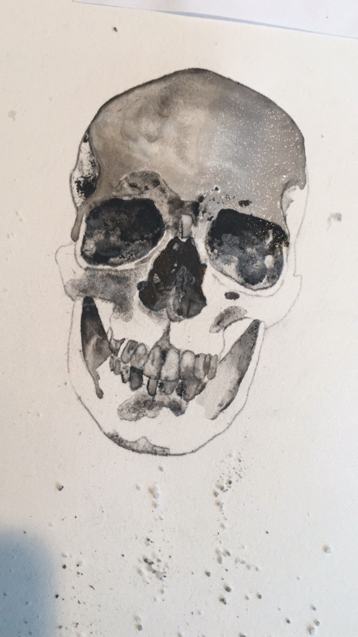 Skull progress - ink, painting, art - alexakarabin | ello