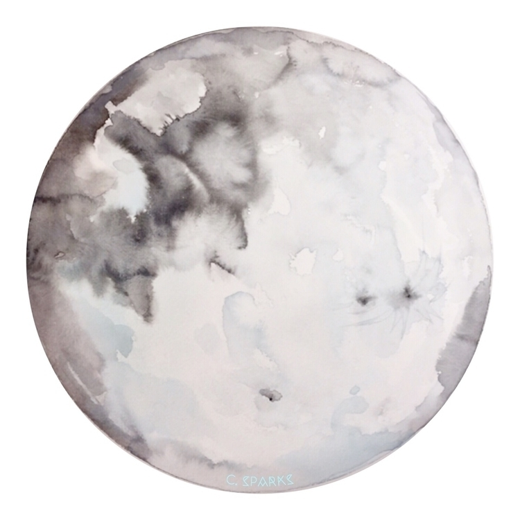 Full Moon Japanese watercolors  - chrissysparksart | ello