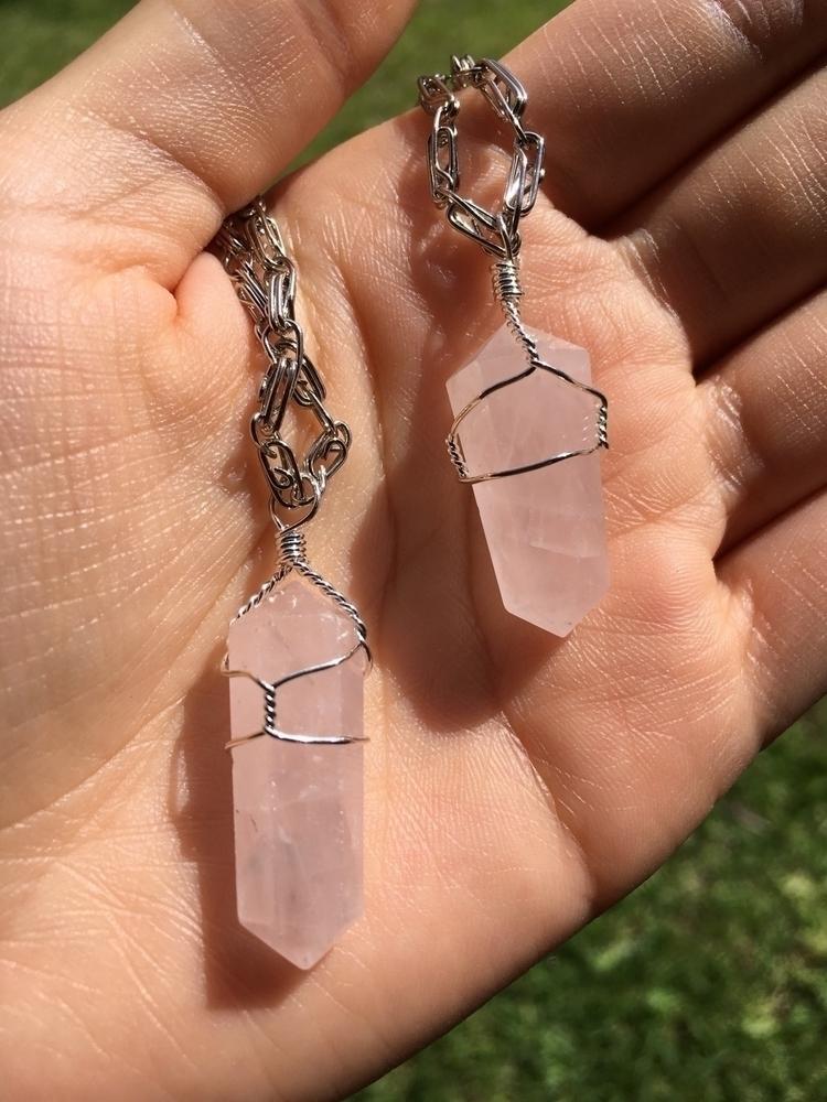 Rose quartz pendants wrapped si - aljewelers | ello