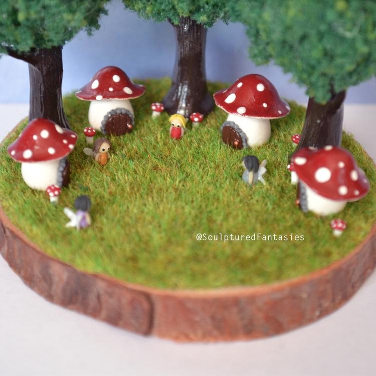working mushroom fairy houses e - sculpturedfantasies | ello