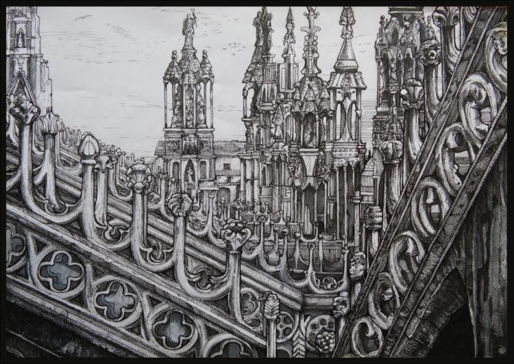 top Duomo di Milano - Pen ink A - malthus_wolf | ello