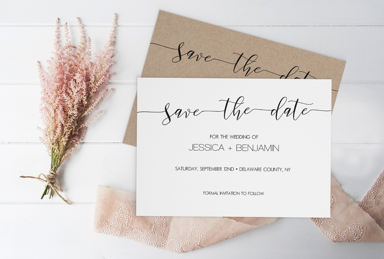 Rustic Calligraphy Wedding Save - diyprintable | ello