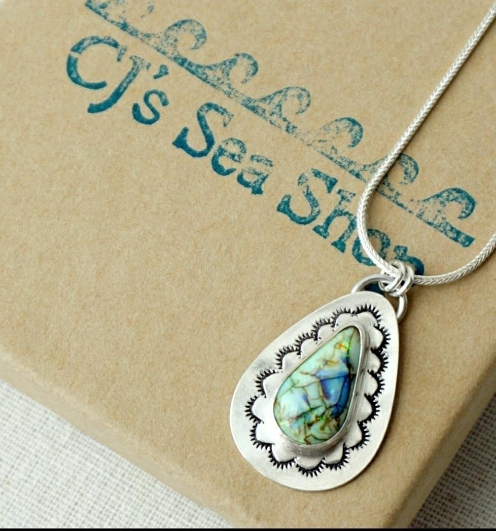Handstamped monarch opal pendan - cjsseashop | ello