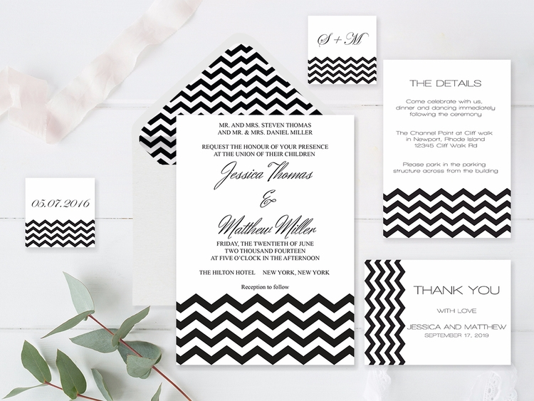 Black Chevron Wedding Invitatio - diyprintable | ello