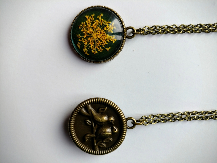 driedflowerjewelry, boho, birdnecklace - namasterabbit | ello