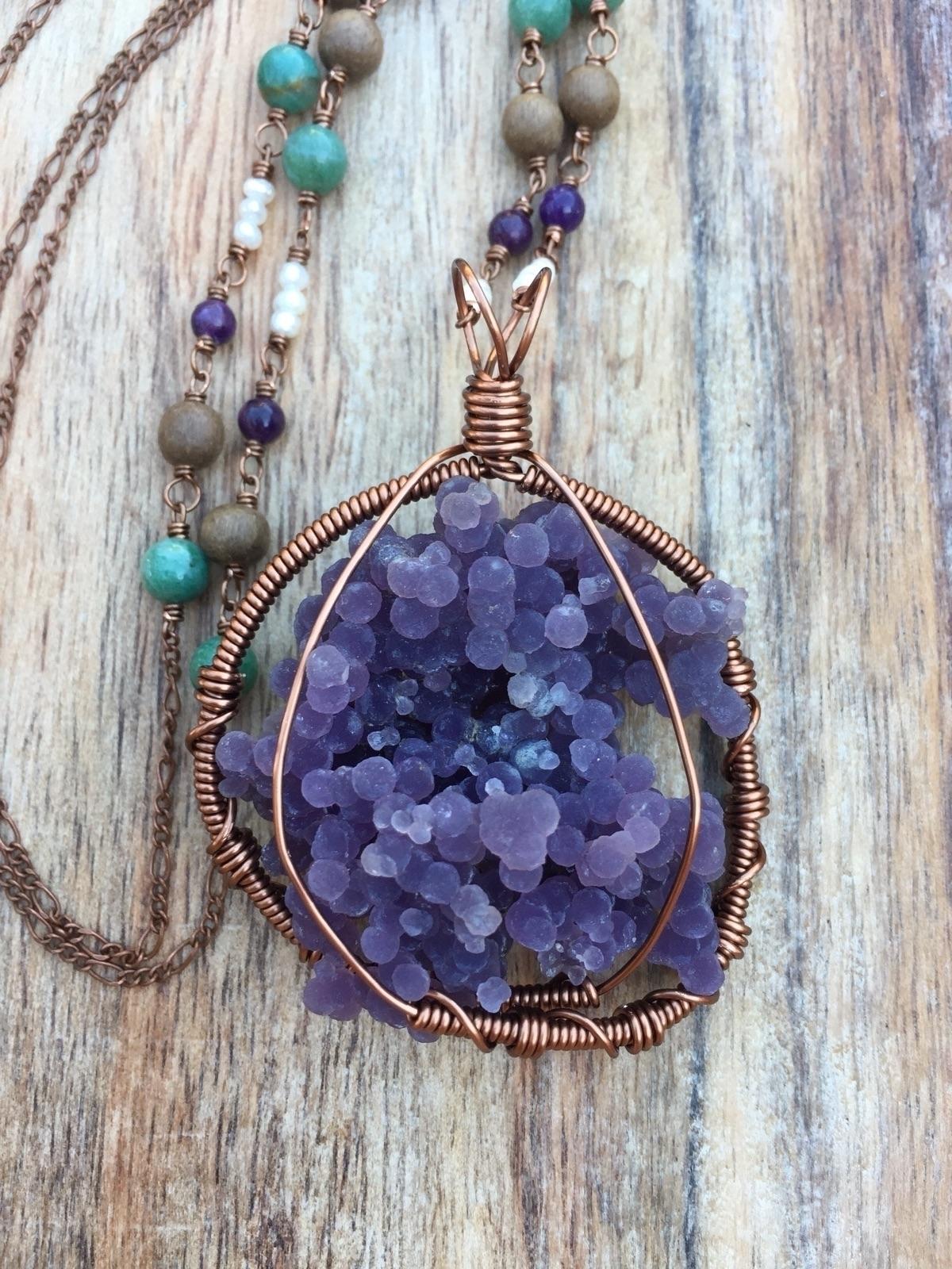 Long drusy grape agate necklace - rockfanatic | ello