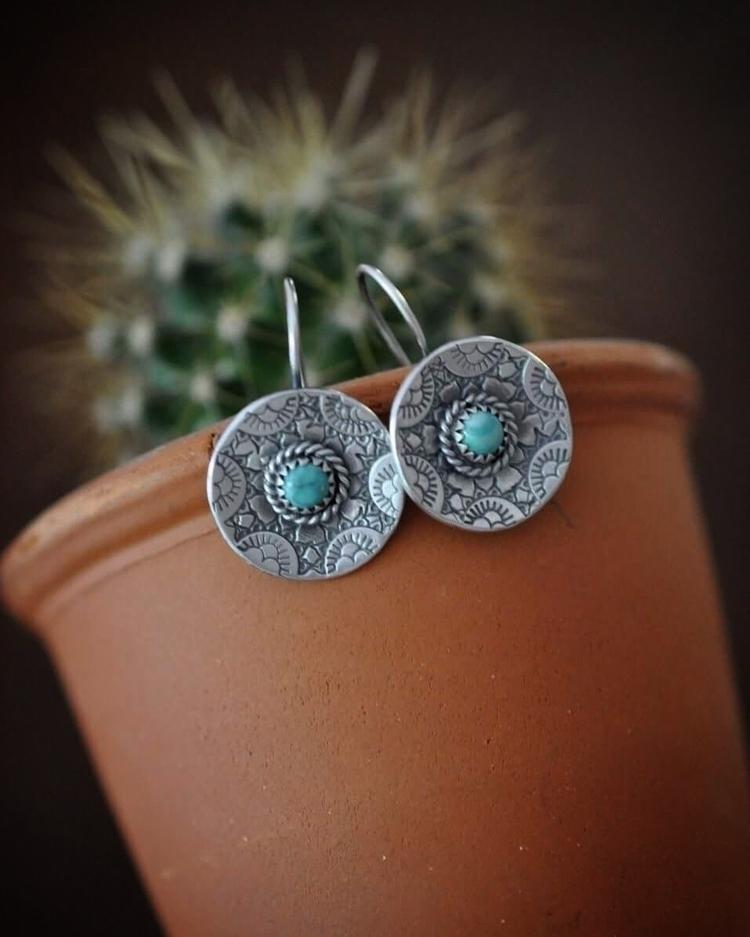sweet pair turquoise earrings f - christinewalshjewellery   ello