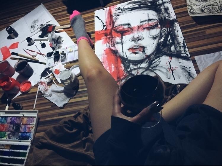 Wine Time :heart:️🖤 progress  - fashionillustration - ibreathart | ello