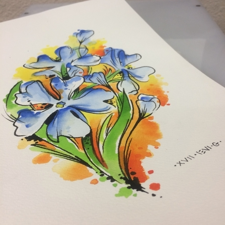 Flower, watercolortattoo, design - levigreenacres | ello