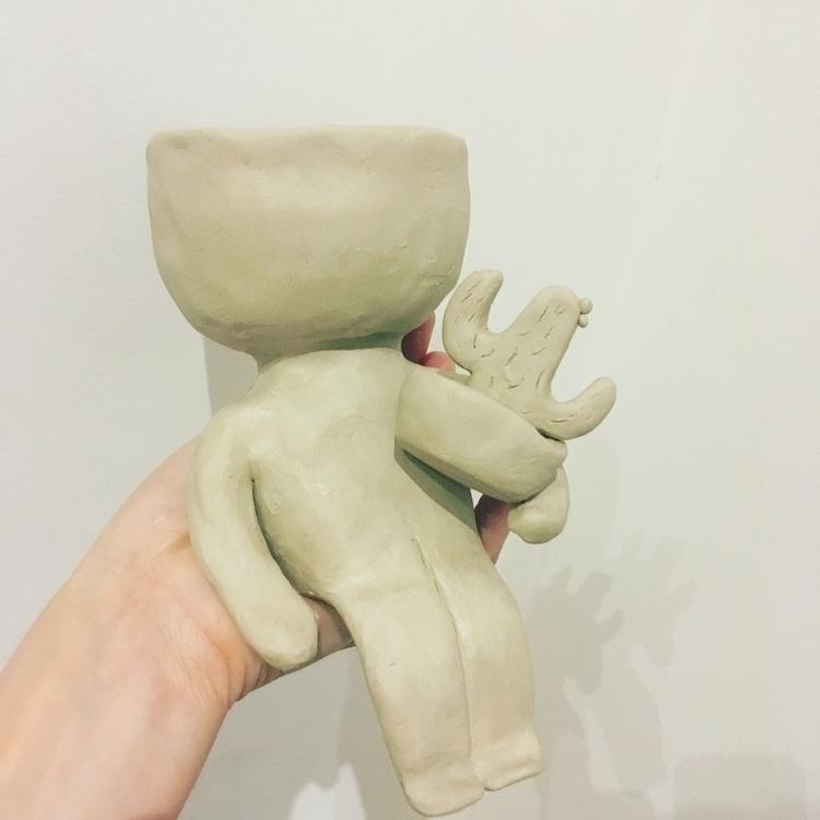 dude pot holding cactus pot - ceramics#clay#pot#cactus#pottery#handmade - livingdecortwins | ello