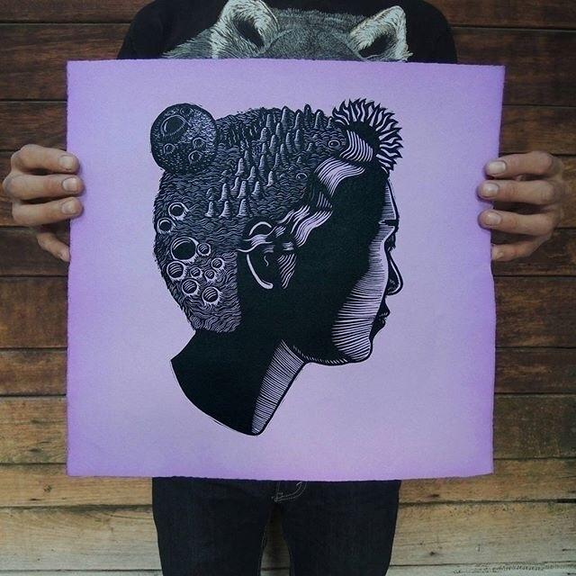 Mental Landscapes linocut print - killchoy | ello