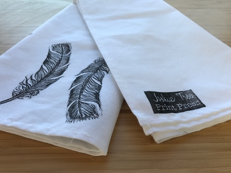 Hand printed tea towels - handmade - joshuatreeprintpress | ello