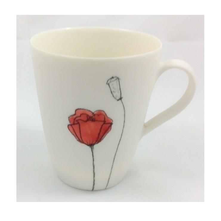 hand porcelain mug poppy detail - ateliercrafers   ello