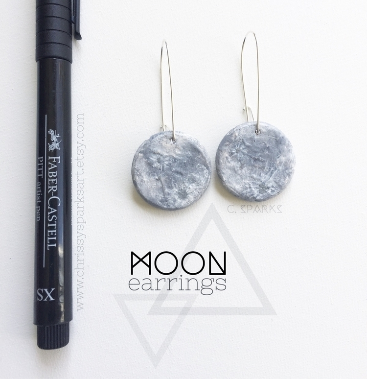 Hand Painted Moon Earrings - moonphase - chrissysparksart | ello