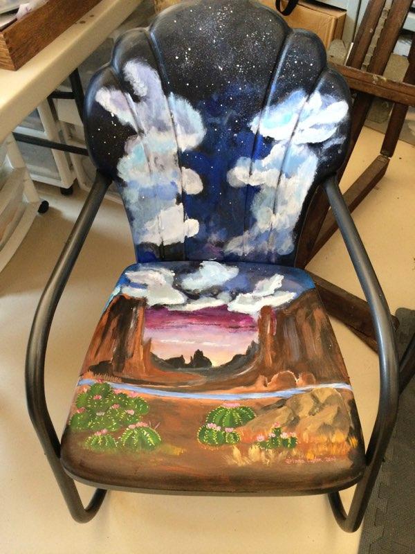 fun paining vintage patio chair - desertnightsstudio | ello