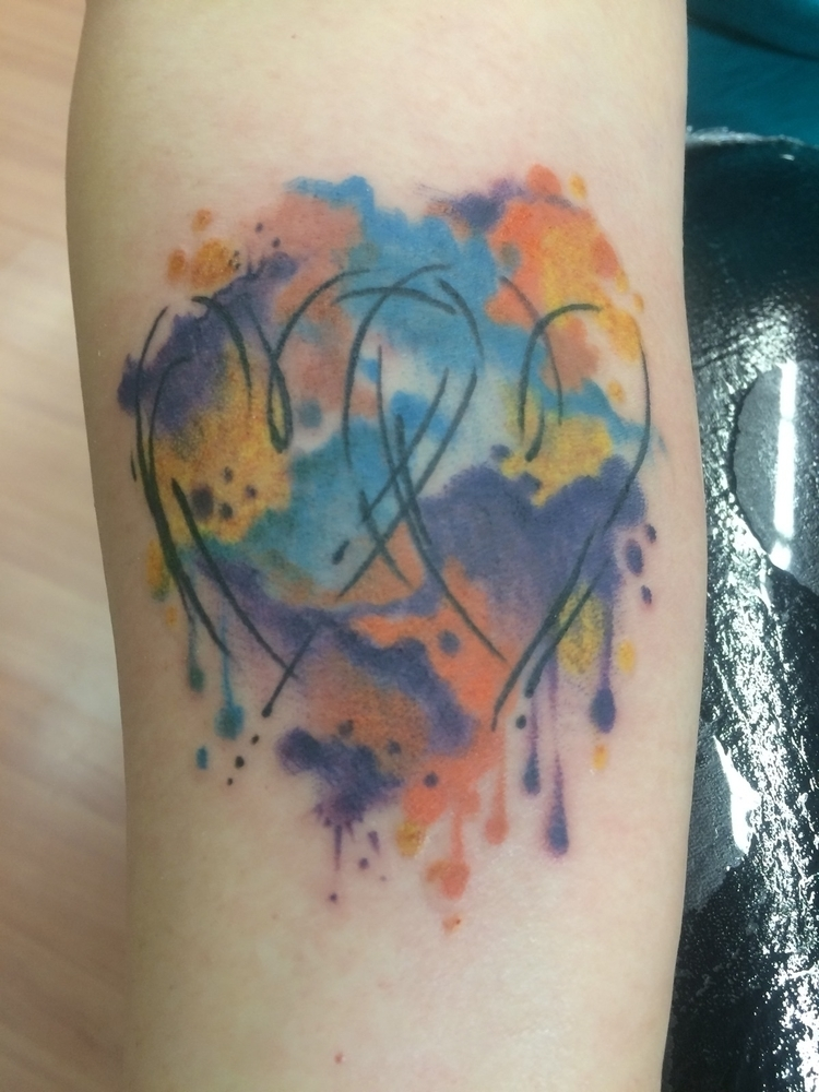 watercolor, heart, tattoo., watercolortattoo - levigreenacres | ello