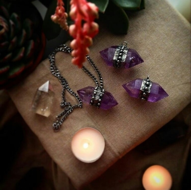lovely amethyst pendants - crystals - cristallunacraft | ello