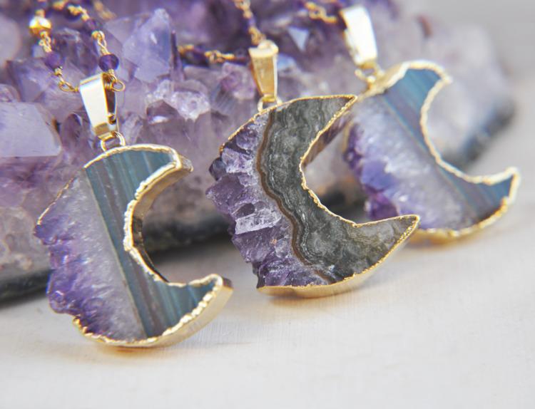amethyst, crystals, moon, crescentmoon - fawinginlove | ello