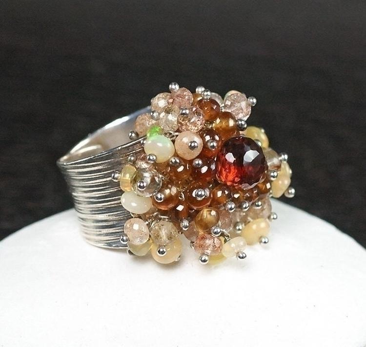 Chunky gemstones cluster ring.  - jewelleryhaven | ello