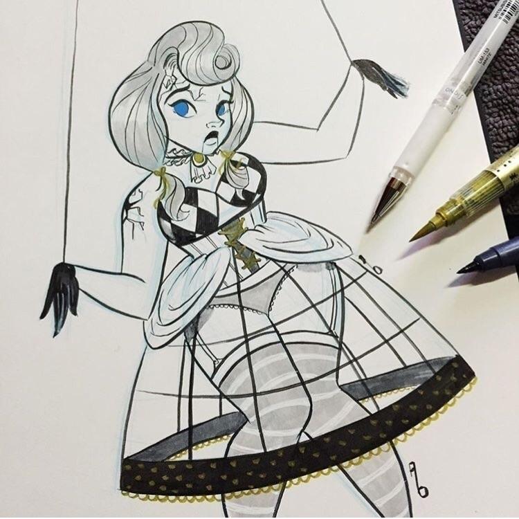 Paper doll - ink gold paint - inktober - mustashleigh | ello