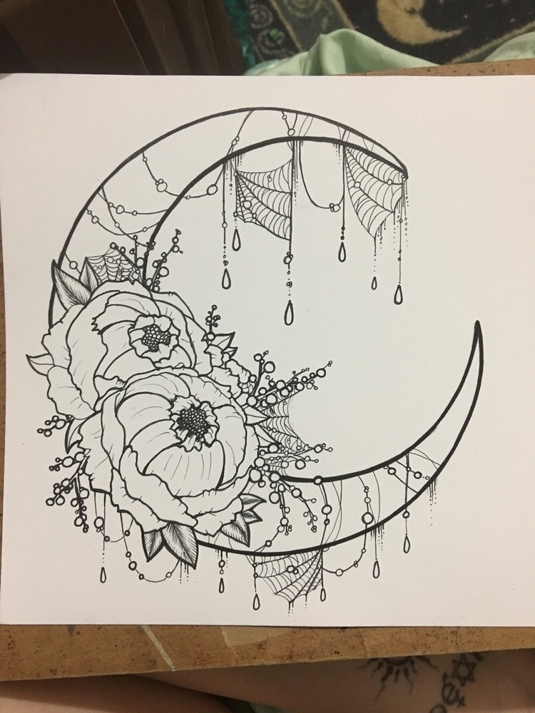wip, moon, peonies, ink, workinprogress - v4l0 | ello