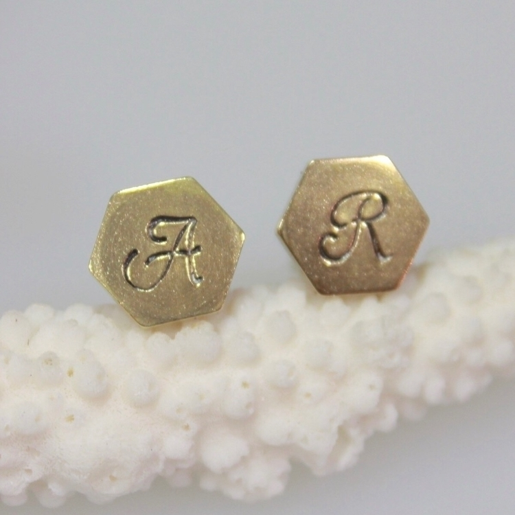 Stamped initial cuff links soli - gemini_lotus_designs | ello
