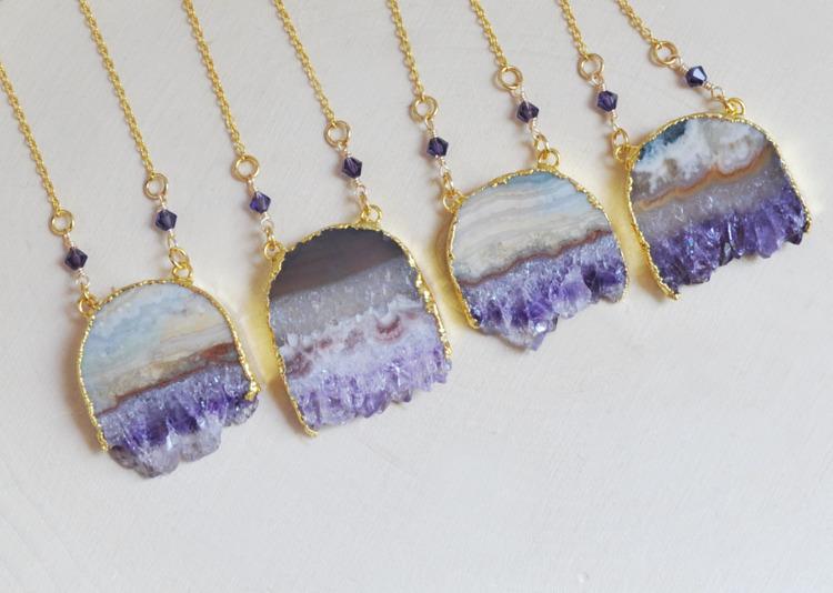 amethyst, crystals, necklaces - fawinginlove | ello