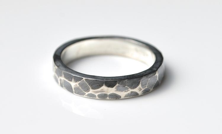 Textured Oxidized Silver Ring  - mineralrare | ello