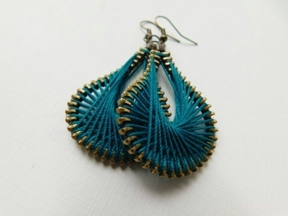 Teal Peruvian Thread Zipper Ear - peteandveronicas | ello