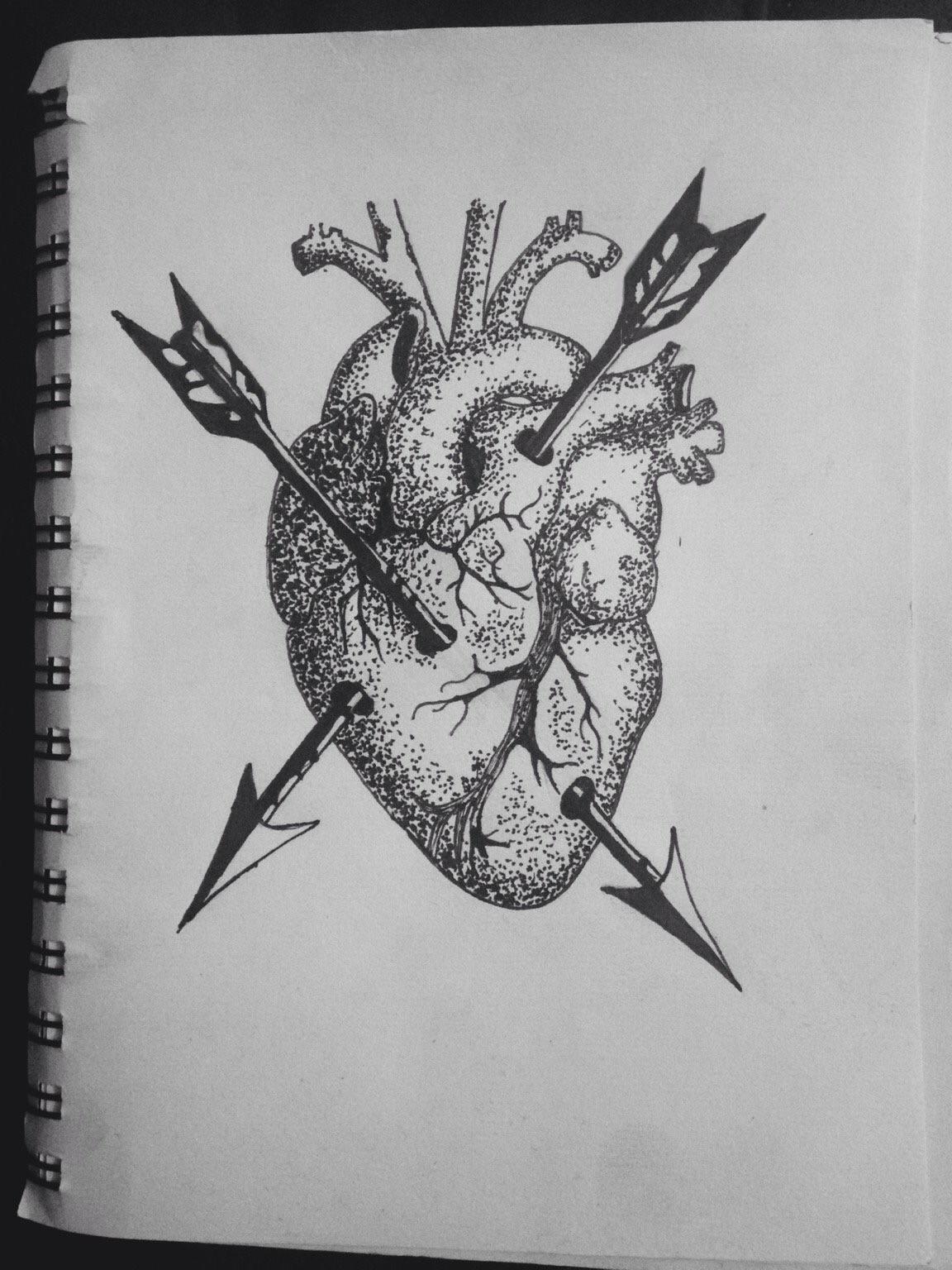 Dot Work Heart Arrows - Drawing - kristalcave | ello