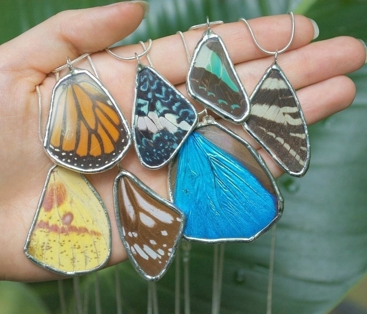 glass encased wing necklaces pr - thebutterflybabe | ello