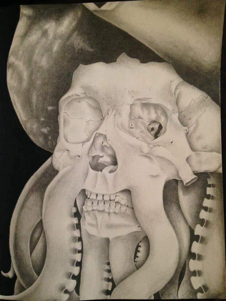 graphite drawing skeletal Davy  - helvetejakthund | ello