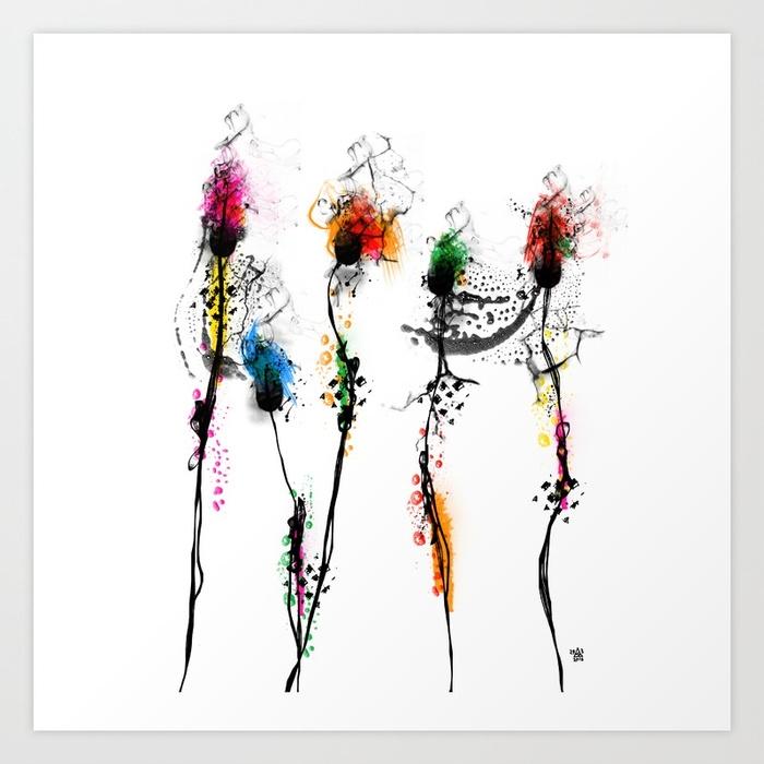 Flaming Flowers Art Print Sail  - dimsemi | ello