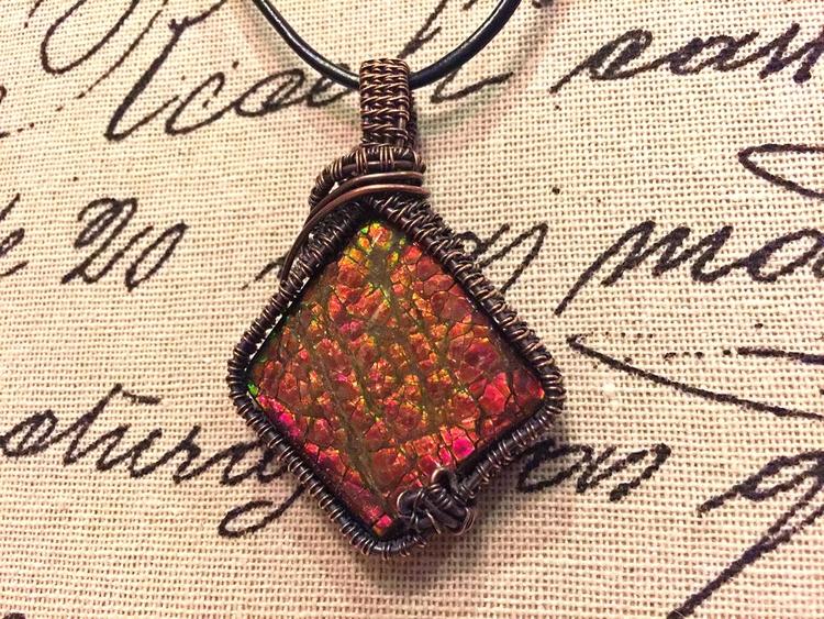 Ammolite pendant wrapped copper - artisanni | ello