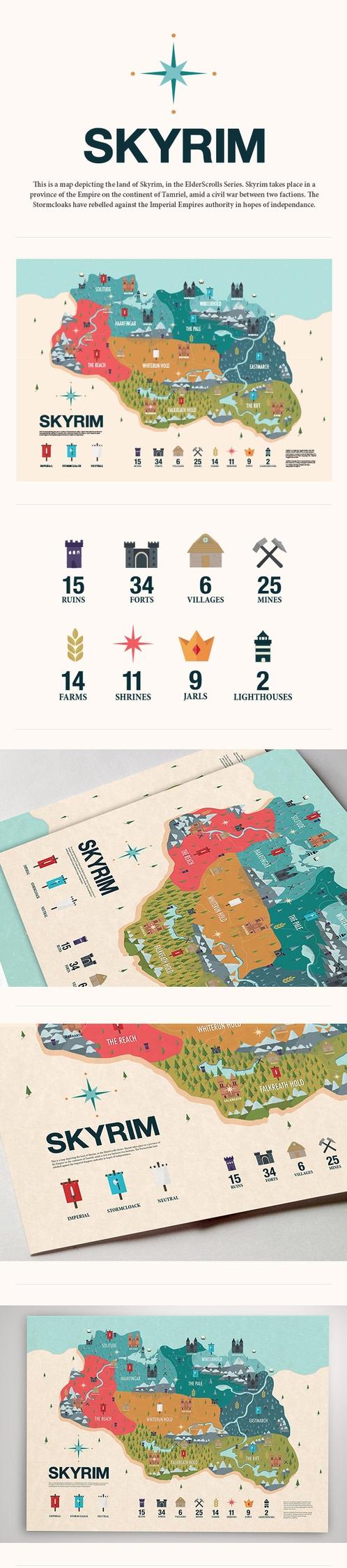 skyrim, infographic, map, illustration - tj93 | ello