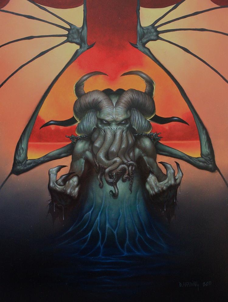 Cthulhu Rising 11x14 oil masoni - danharding | ello