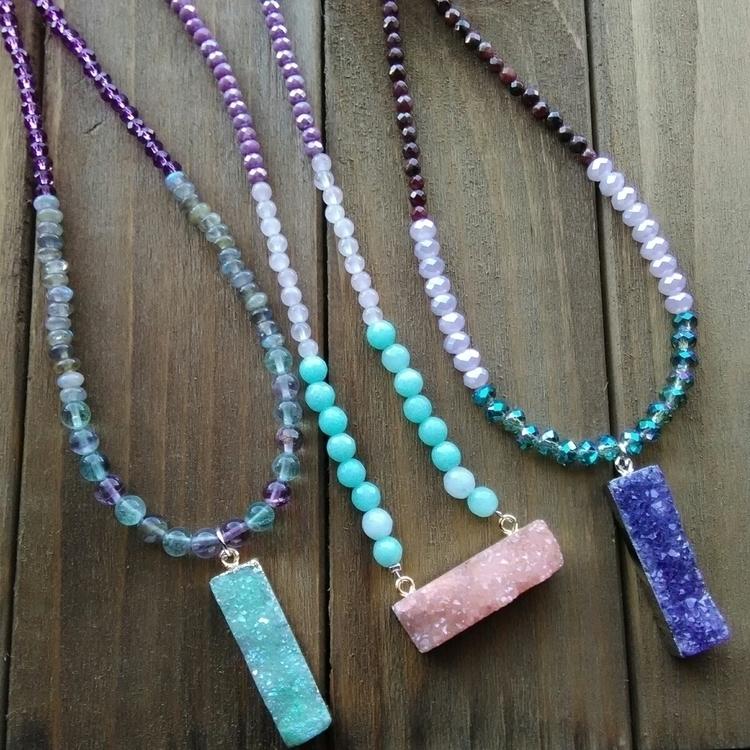 Druzy Necklaces! $35 - druzy, fluorite - fairywitchcreations | ello