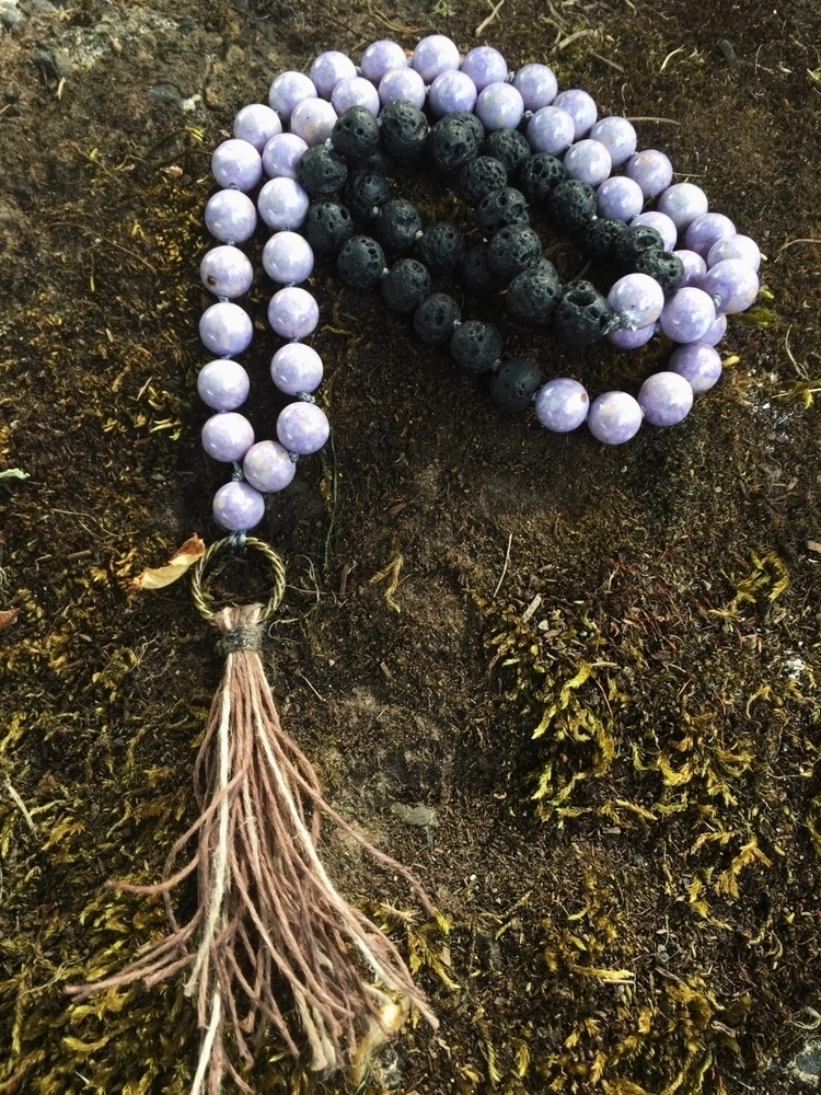 Purple Riverstone black lava ro - gypsyxjewels | ello