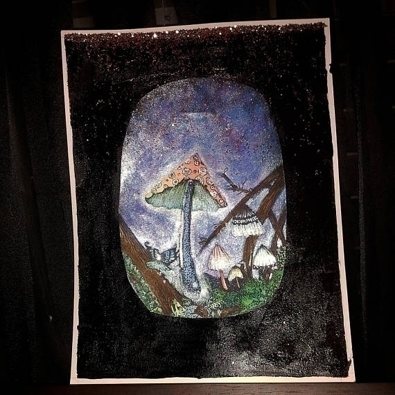 MAGICK MUSHROOM 9 12 Watercolor - mintroyaleshop | ello