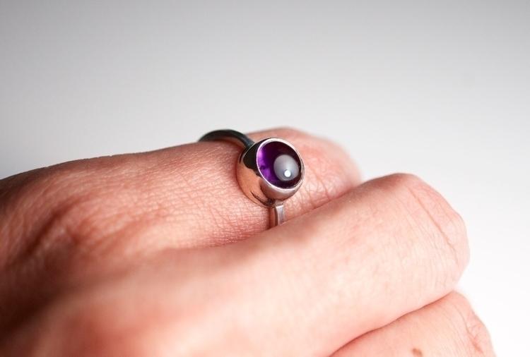 Thin Silver Amethyst Ring - goo - mineralrare | ello