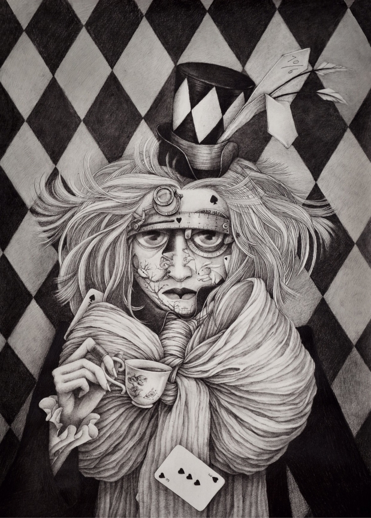 Madhatter - drawing, sketching, sketchaday - alice_lin | ello