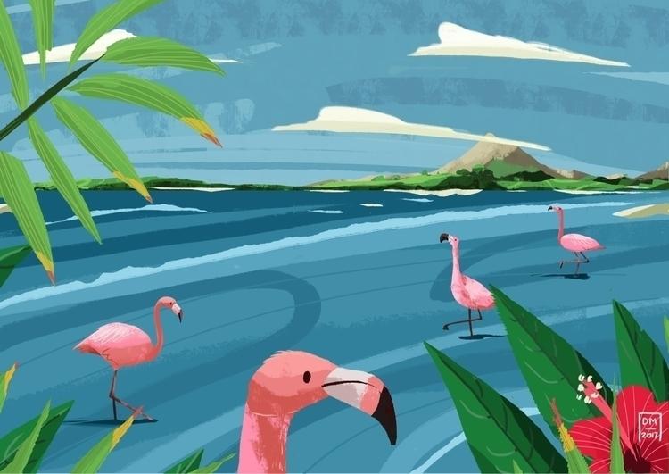 Flamingos - illustration - doodlesmarc | ello