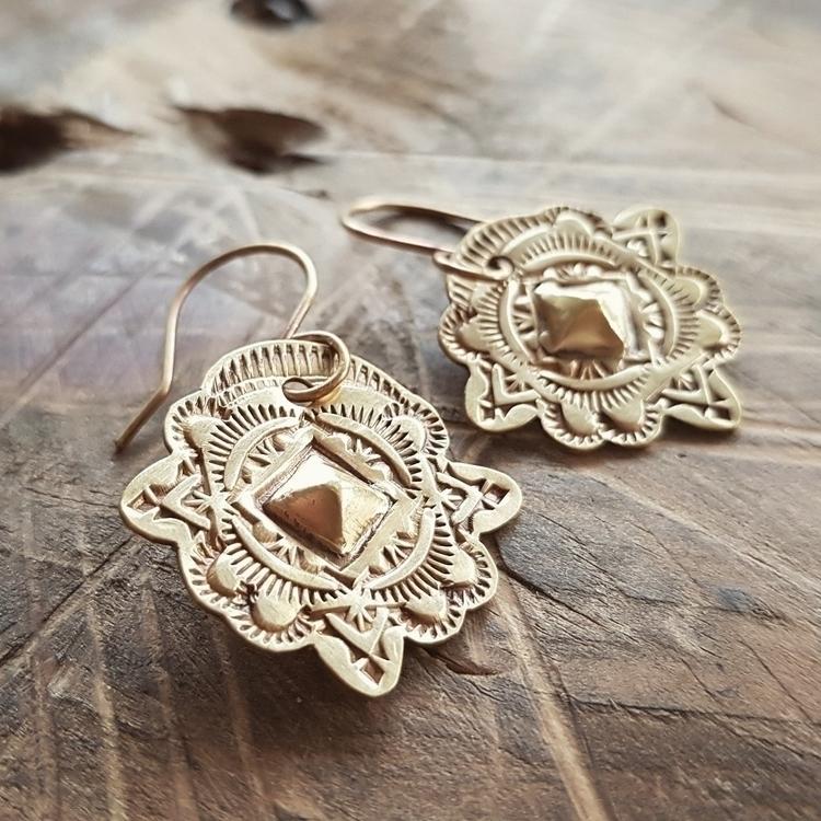 Brass handstamped earrings - blueflamejewelry#brassearrings#brass - blueflamejewelry | ello