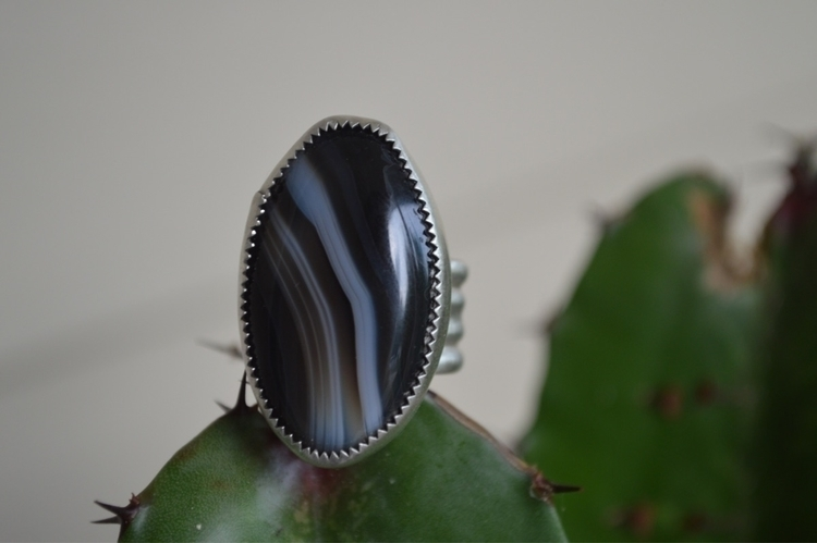 // black Agate ring bands white - earthandstonestudio | ello