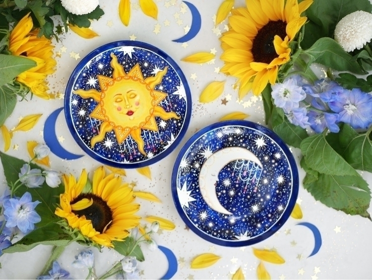 Sun Moon twin plate set super i - thequirkycupcollective | ello