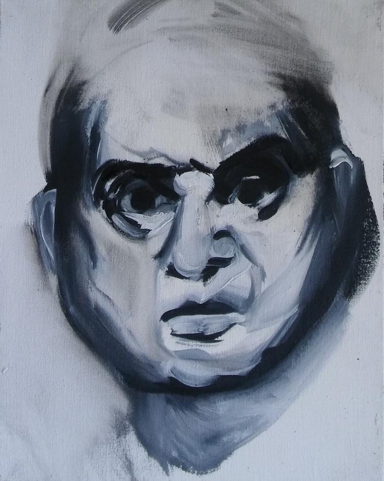 bacon# portrait#oil#canvas#23x1 - judytakrawczyk | ello